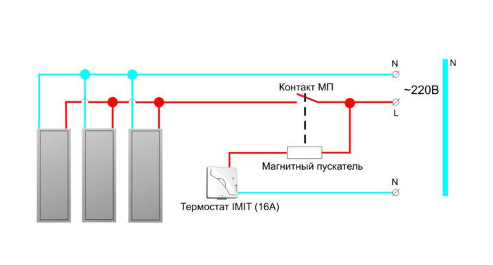 Схема подключения инфракрасного обогревателя