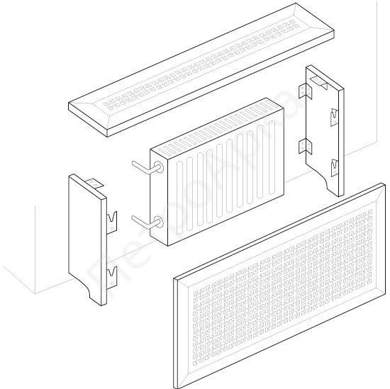 Схема крепления экрана на батарею